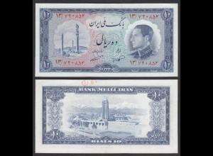 PERSIEN - PERSIA - IRAN - 10 RIALS (1954) Pick 64 VF+ (3+) Schah Reza (26548