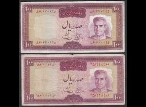 PERSIEN - PERSIA - IRAN - 2 Stück á 100 RIALS (1969) Pick 86a VG/F (4/5)