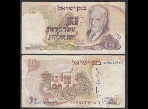 ISRAEL 10 Lirot Banknote 1968 Pick 35b F (4) (26557