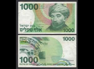 Israel 1000 Sheqalim Banknote 1983 Pick 49 VF (3) (26559