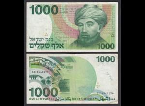 Israel 1000 Sheqalim Banknote 1983 Pick 49 F (4) (26560