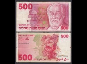 ISRAEL 500 SHEQALIM Banknote 1982 Pick 48 F (4) (26566