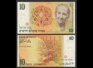 ISRAEL 10 New Sheqalim Banknote 1987 Pick 53b aVF (3-) (26569