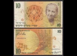 ISRAEL 10 New Sheqalim Banknote 1992 Pick 53c F (4) (26570