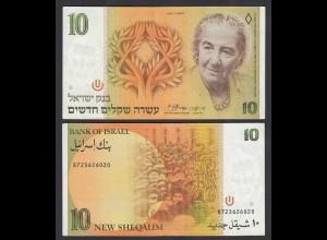 ISRAEL 10 New Sheqalim Banknote 1985 Pick 53a XF (2) (26571