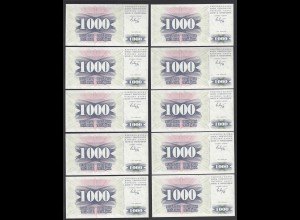 BOSNIA - HERZEGOVINA - 10 Stück á 1000 Dinara 1992 Pick 15a UNC (1) (89055