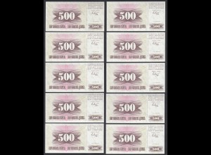 Bosnien Herzegovina - 10 Stück á 500 Dinara 1992 Pick 14a UNC (1) (89056