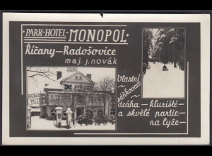 AK Park Hotel Monopol Ricany Radosovice CSSR Czechoslovakia (26602