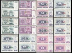 BOSNIA - HERZEGOVINA CROATIA 24 Stück Banknoten ca. VF (26606
