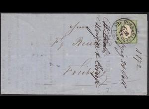 Deutsches Reich 1872 kl. Brustschild 1 Kreuzer Ortsbrief Freiburg (13466