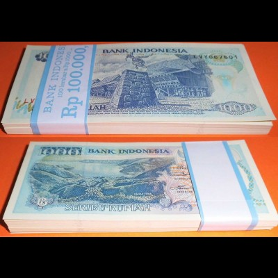 Indonesien - Indonesia 1000 Rupiah 1992 Pick 129 UNC (1) Bundle á 100 Stück