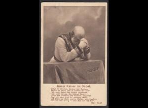 AK Wiener Rotophot Unser Kaiser im Gebet Feldpost 1915 Ungarn Budapest (26623