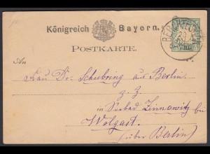 Bayern - 5 Pfennig Ganzsache 1876 Berchtesgaden nach Wolgast (26624