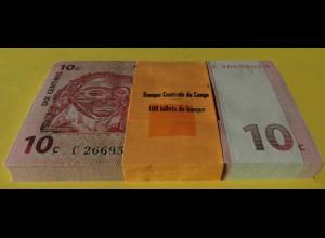 KONGO - CONGO 10 Centimes 1997 Pick 82 UNC (1) Bundle á 100 Stück (90020