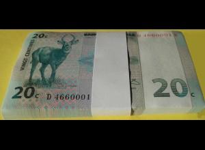 KONGO - CONGO 20 Centimes 1997 Pick 83 UNC (1) Bundle á 100 Stück (90022