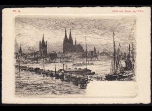 AK Kunstdruck Deutz Blick auf Köln sig.B.Mannfeld 1898 Büttenpapier (17101