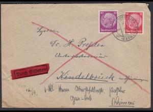 3.Reich 1940 Bedarf Eilbrief Mi. 519 + 524 Gross Aupa nach Weimar (26264
