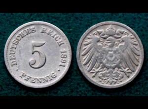 5 Pfennig Kaiserreich EMPIRE 1891 G Jäger 12 (26644