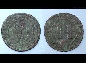 2 Pfennig Münster Domkapitel 1608 mit Gegenstempel 3 Wolfsangel (26645
