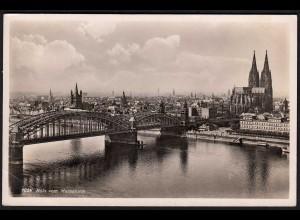 AK Köln vom Messeturm mit Brücke und Dom 1939 gelaufen (17089