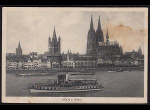 AK Köln Rhein Schiffe Kirchen 1914 gelaufen (17100