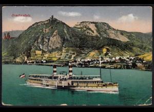 AK Drachenfels Rhein Schiffe 1916 gelaufen (17136