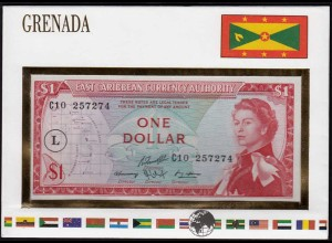 EAST CARIBBEAN STATES 1 DOLLAR (1965) St.Lucia PICK 13L Banknotenbrief (15576