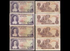 Kolumbien - Colombia 4 Stück á 2 Peso Oro 1973 Pick 413a gebraucht (15264