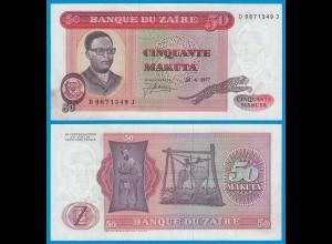 Zaire - 50 Makuta Banknote 24.6.1977 Pick 16b VF (3) (18720