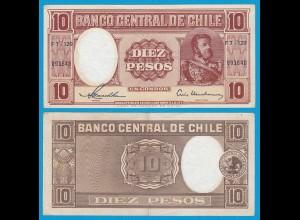 CHILE - 10 Pesos Banknote 1958 Pick 120 XF (2) (18873