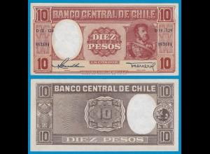 CHILE - 10 Pesos Banknote 1958 Pick 120 aXF (2-) (18874