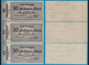 Kreuznach - Notgeld 3 Stück 30-Millionen Mark 1923 Serie F,G,H 5-stellig (18965