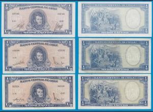 CHILE - 3 Stück á 1/2 ESCUDO BANKNOTEN PICK 134 + 134A VF-UNC (18878