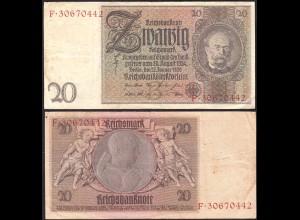 Deutschland - Germany 20 Reichsmark 1929 Ro 174a Pick 181 VF (3) Udr B - Serie F