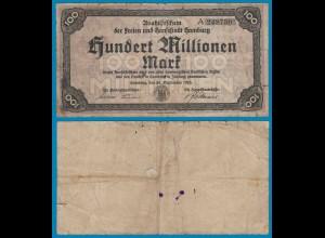 Hamburg 100 Millionen Mark 1923 Aushilfschein Notgeld gebraucht (18991