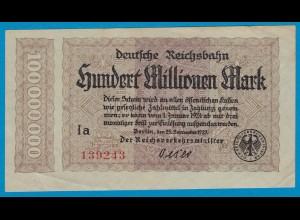 Reichsbahn Berlin 100 Millionen Mark Notgeld Pick S1017 1923 VF (19020