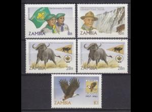 Sambia - Zambia 1982 Pfadfinder postfrisch 5 Stück (5319