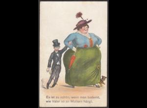 AK Scherzkarte Schön wenn man bedenkt wie Vater an Mutter hängt 1922 (26679