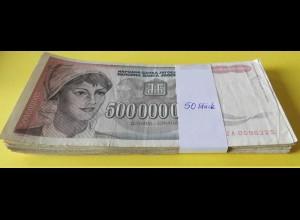 Jugoslawien-Yugoslavia Bundle ca.50 St. 500-Millionen Dinara 1993 Pick 129 F/VF