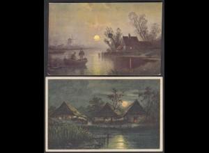 2 Stück AK Künstlerkarten Mondschein Fischerei (26703
