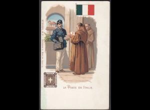 AK Italy Briefmarken LA POSTE EN ITALY (26694