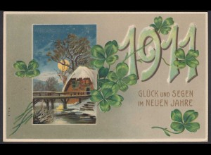 AK 1911 Glück und Segen im Neuen Jahr Prägedruck (26691