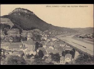 AK Königstein Stadt und Festung Fluss Sächsische Schweiz (12631