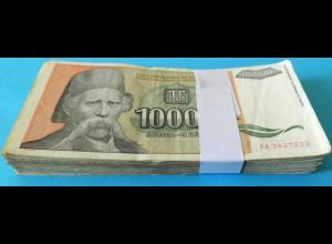Jugoslawien - Yugoslavia Bundle 100 Stück 10.000 10000 Dinara 1993 Pick 129