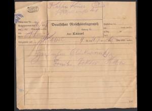 Deutscher Reichstelegraph Telegramm 1927 Amt Kassel (26250