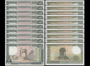 LIBANON - LEBANON 10 Stück á 250 Livres Banknote Pick 67e 1988 UNC (89065