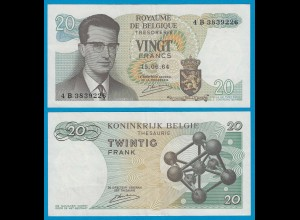 Belgien - Belgium 20 Francs 15.6.1964 4 B Pick 138 XF- (2-) (19117