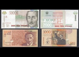 Kolumbien - Colombia 1000 + 2000 Peso 2005/08 UNC (1) (26736