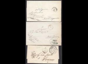 ITALY 3 Stück Altbriefe - 3 pezzi vecchie lettere dal 1861 in poi con contenuto