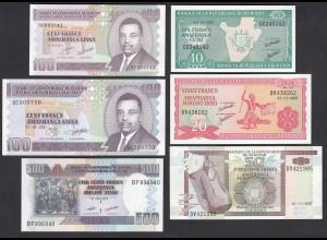Burundi 6 Stück Banknoten 2001-2011 UNC (1) (26748